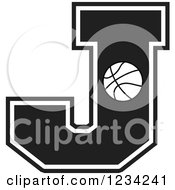 Clipart Of A Black And White Basketball Letter J Royalty Free Vector Illustration