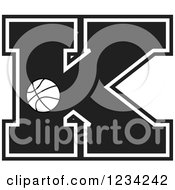Clipart Of A Black And White Basketball Letter K Royalty Free Vector Illustration