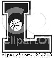 Clipart Of A Black And White Basketball Letter L Royalty Free Vector Illustration