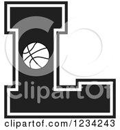 Black And White Basketball Letter L