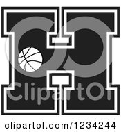 Clipart Of A Black And White Basketball Letter H Royalty Free Vector Illustration