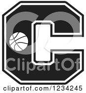 Clipart Of A Black And White Basketball Letter C Royalty Free Vector Illustration