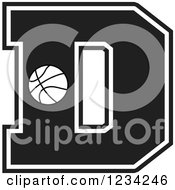 Clipart Of A Black And White Basketball Letter D Royalty Free Vector Illustration