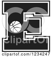 Clipart Of A Black And White Basketball Letter E Royalty Free Vector Illustration