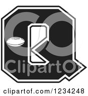 Clipart Of A Black And White Football Letter Q Royalty Free Vector Illustration by Johnny Sajem