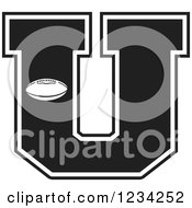 Clipart Of A Black And White Football Letter U Royalty Free Vector Illustration by Johnny Sajem