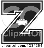 Clipart Of A Black And White Football Letter Z Royalty Free Vector Illustration by Johnny Sajem
