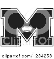 Clipart Of A Black And White Football Letter M Royalty Free Vector Illustration by Johnny Sajem