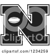 Clipart Of A Black And White Football Letter N Royalty Free Vector Illustration by Johnny Sajem