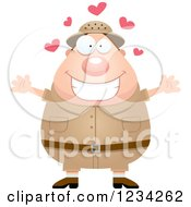 Clipart Of A Safari Or Explorer Man With Open Arms And Hearts Royalty Free Vector Illustration