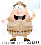 Clipart Of A Talking Safari Or Explorer Man Royalty Free Vector Illustration by Cory Thoman
