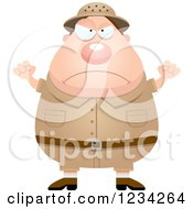 Clipart Of A Mad Safari Or Explorer Man Waving His Fists Royalty Free Vector Illustration by Cory Thoman
