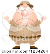 Clipart Of A Mad Safari Or Explorer Man Waving His Fists Royalty Free Vector Illustration