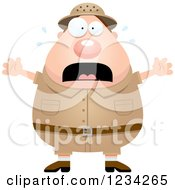 Clipart Of A Scared Screaming Safari Or Explorer Man Royalty Free Vector Illustration