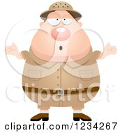 Clipart Of A Careless Shrugging Safari Or Explorer Man Royalty Free Vector Illustration by Cory Thoman