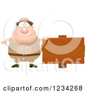 Clipart Of A Safari Or Explorer Man With A Wood Sign Royalty Free Vector Illustration