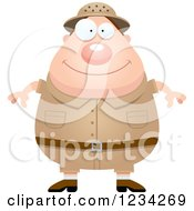 Clipart Of A Happy Safari Or Explorer Man Royalty Free Vector Illustration