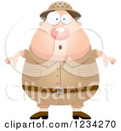 Clipart Of A Surprised Gasping Safari Or Explorer Man Royalty Free Vector Illustration