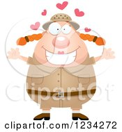 Clipart Of A Safari Or Explorer Woman With Open Arms And Hearts Royalty Free Vector Illustration