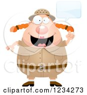 Clipart Of A Talking Safari Or Explorer Woman Royalty Free Vector Illustration
