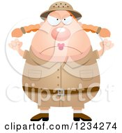 Clipart Of A Mad Safari Or Explorer Woman Waving Her Fists Royalty Free Vector Illustration