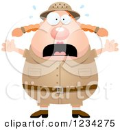 Clipart Of A Scared Screaming Safari Or Explorer Woman Royalty Free Vector Illustration by Cory Thoman