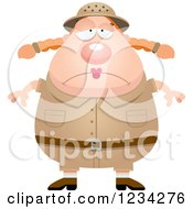 Clipart Of A Depressed Safari Or Explorer Woman Royalty Free Vector Illustration