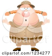 Clipart Of A Careless Shrugging Safari Or Explorer Woman Royalty Free Vector Illustration