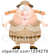 Clipart Of A Happy Safari Or Explorer Woman Royalty Free Vector Illustration by Cory Thoman