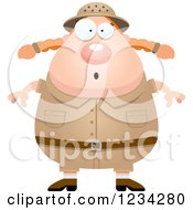 Clipart Of A Surprised Gasping Safari Or Explorer Woman Royalty Free Vector Illustration