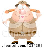 Clipart Of A Waving Friendly Safari Or Explorer Woman Royalty Free Vector Illustration