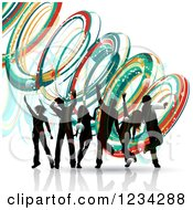 Clipart Of Silhouetted Dancers Over Colorful Spirals Royalty Free Vector Illustration