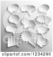 Clipart Of 3d Speech Bubbles On Gray Royalty Free Vector Illustration by KJ Pargeter