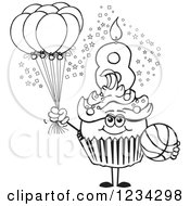 Outlined Boys Eighth Birthday Cupcake With A Basketball And Balloons