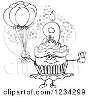 Outlined Girls Ninth Birthday Ballerina Cupcake With Balloons
