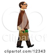 3d Man Walking With A Bag Of Groceries