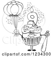 Outlined Boys Ninth Birthday Cupcake With A Baseball Bat And Balloons