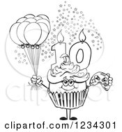 Outlined Girls Tenth Birthday Cupcake With A Video Game Controller And Balloons