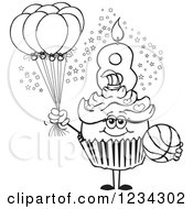 Outlined Girls Eighth Birthday Cupcake With A Basketball And Balloons