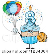 Clipart Of A Blue Boys Eighth Birthday Cupcake With A Basketball And Balloons Royalty Free Vector Illustration by Dennis Holmes Designs