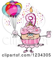 Clipart Of A Pink Girls Ninth Birthday Ballerina Cupcake With Balloons Royalty Free Vector Illustration by Dennis Holmes Designs