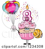 Clipart Of A Pink Girls Eighth Birthday Cupcake With A Basketball And Balloons Royalty Free Vector Illustration by Dennis Holmes Designs
