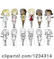 Clipart Of Women Royalty Free Vector Illustration