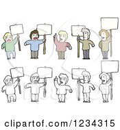 Clipart Of Men With Signs Royalty Free Vector Illustration