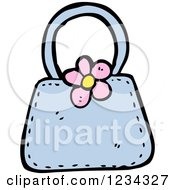 Clipart Of A Blue Purse With A Flower Royalty Free Vector Illustration by lineartestpilot