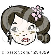 Clipart Of A Girl With Flowers In Her Hair Royalty Free Vector Illustration by lineartestpilot
