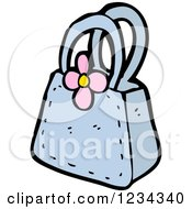 Clipart Of A Blue Purse With A Flower Royalty Free Vector Illustration