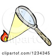 Clipart Of A Magnifying Glass Starting A Fire Royalty Free Vector Illustration