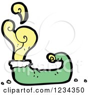 Clipart Of A Green Elf Shoe With Yellow Odor Royalty Free Vector Illustration by lineartestpilot