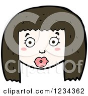 Clipart Of A Brunette Girl Royalty Free Vector Illustration by lineartestpilot